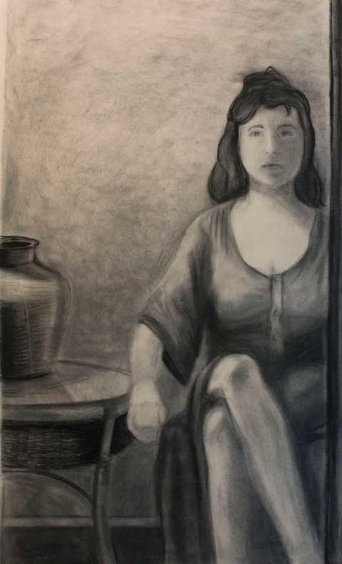 self portrait with glass top table